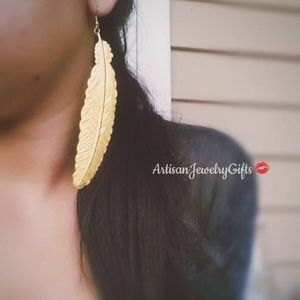 Hypo-Allergenic Large Gold Feather Earrings